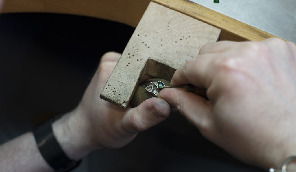 A jeweller at the bench in The Goldsmiths' Centre in London