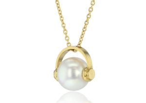 Frances Wadsworth Jones Who? pearl pendant with gold headphones