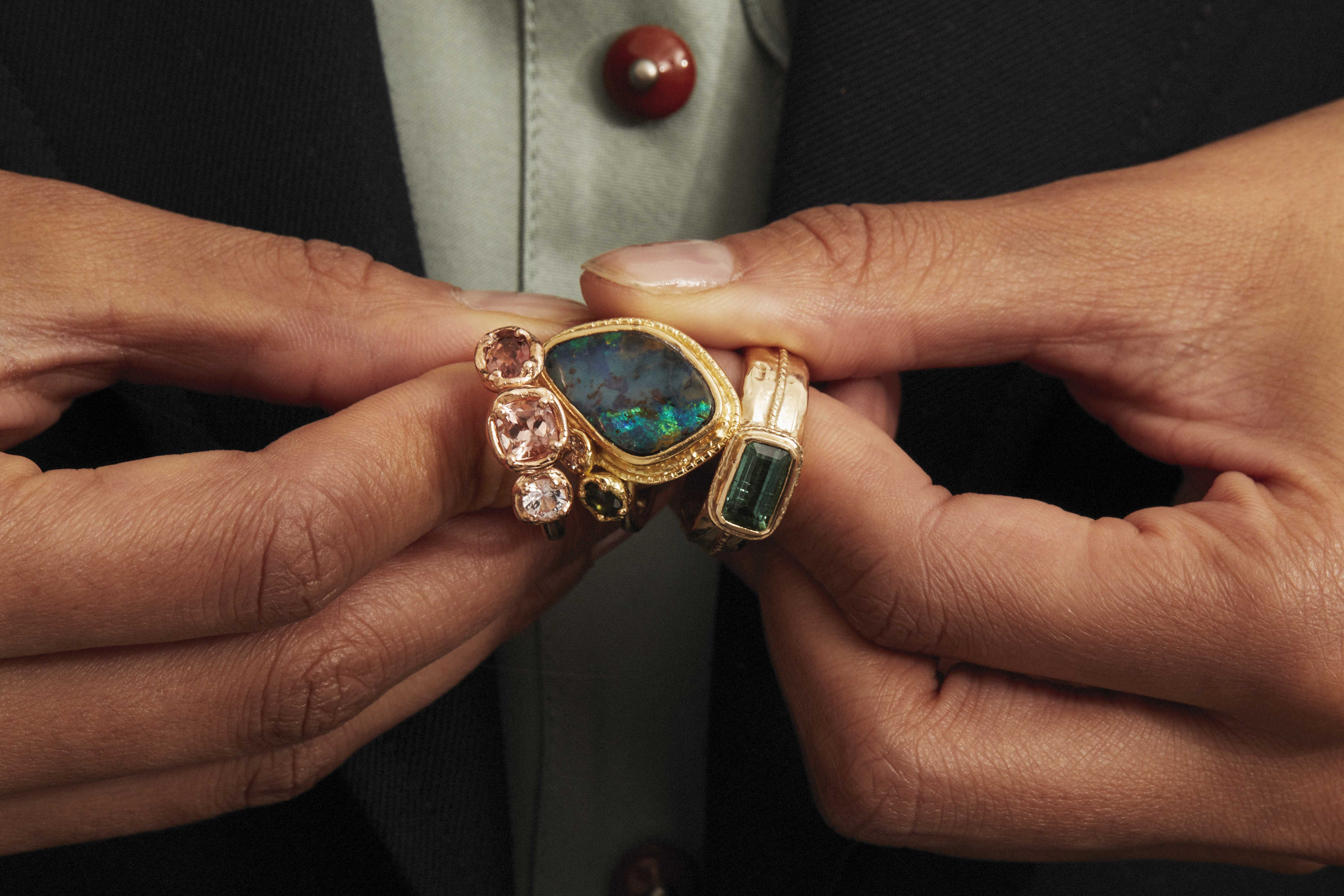 Mia Chicco gold rings set with champagne diamonds, sapphires, tourmaline and boulder opal