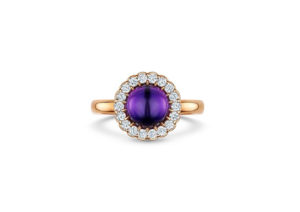 Andrew Geoghegan yellow gold, amethyst and diamond ring at Hidden Jewellery