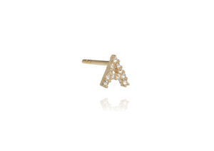 Annoushka yellow gold and diamond A initial ear stud