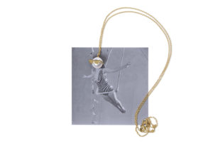 Frances Wadsworth Jones yellow gold and pearl Dude x Trapeze Artist necklace