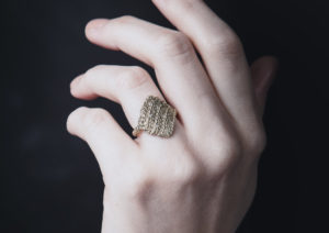 Ebba Goring Fairtrade yellow gold and diamond Knit ring