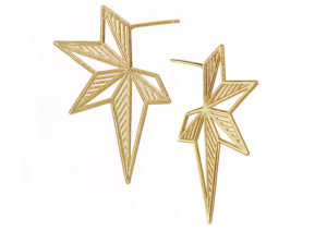 Claire Macfarlane gold-plated silver Hatched Star earrings