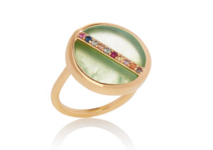 Lola Rose chrysoprase, mixed sapphires and yellow gold vermeil Curio statement ring