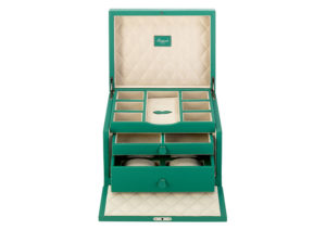 Rapport green leather and suede Grand jewellery box