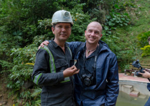 Ian Nicholson with a miner in Colombia