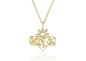Floral Fragments Fairtrade gold and diamond necklace by Natalie Perry