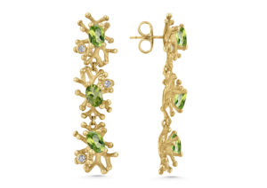Lylie's yellow gold, diamond and peridot The Nine Mile Reef earrings