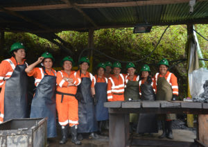The women manning the wash plant at the Coscuez mine.