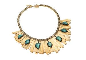 Coomi yellow gold, diamond and Muzo emerald Sunburth necklace