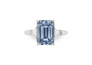 A ring set with a 3.09ct rectangular-cut fancy intense blue diamond sold at Christie's New York in April 2018