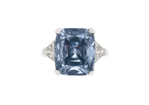 Bulgari ring set with an 8.08ct cushion-cut fancy vivid blue diamond, sold at Christie's New York in December 2018