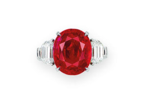 A Burmese ruby and diamond ring of 10.04cts, sold at Christie's Hong Kong in November 2018