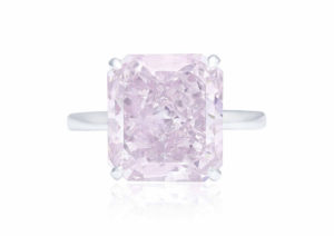 A ring set with an 8.52ct rectangular-cut fancy intense purplish-pink diamond, sold at Christie's Geneva in May 2018
