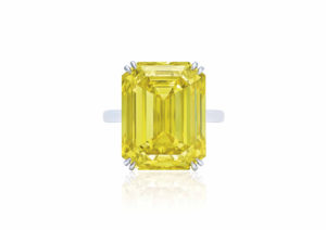 A ring set with a 20.49ct rectangular-cut fancy vivid yellow diamond, sold at Christie's Geneva in May 2018