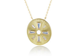 Brooke Gregson 18ct yellow gold, diamond and moonstone Talisman Shield necklace