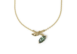 Frances Wadsworth Jones 18ct yellow gold Thieves Marquise PendANT set with a marquise-cut green sapphire