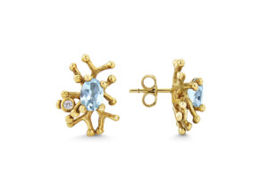 Lylie's salvaged 9ct yellow gold, recycled aquamarine and antique diamond Tofo stud earrings