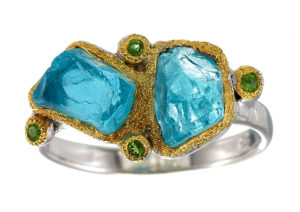 Roseheart Jewels apatite and chrome diopside Ocean ring in silver with gold-plated accents