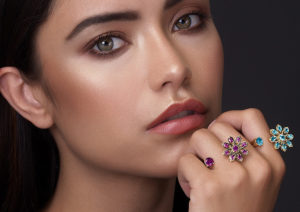 Sara Peymanpour 18ct yellow gold, blue topaz and ruby Persian Garden rings