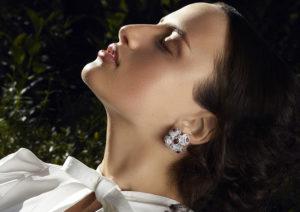 Satta Matturi 18ct white gold, diamond and rubellite Zen in Rubellite earrings
