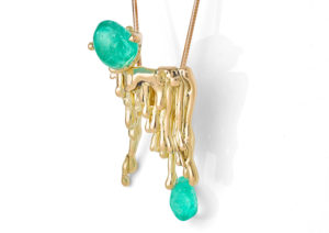 The Rock Hound 18ct Fairtrade yellow gold and 20.6ct Colombian Muzo emerald Candelabra necklace