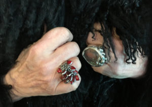 The rings of Rebel Rebel Flowers co-owner Athena Duncan