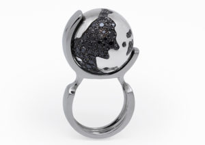 Ilona Orel 18ct white gold and black diamond World Famous ring