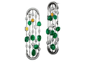 Alexandra Mor Muzo emerald, diamond, platinum and white gold Arched earrings