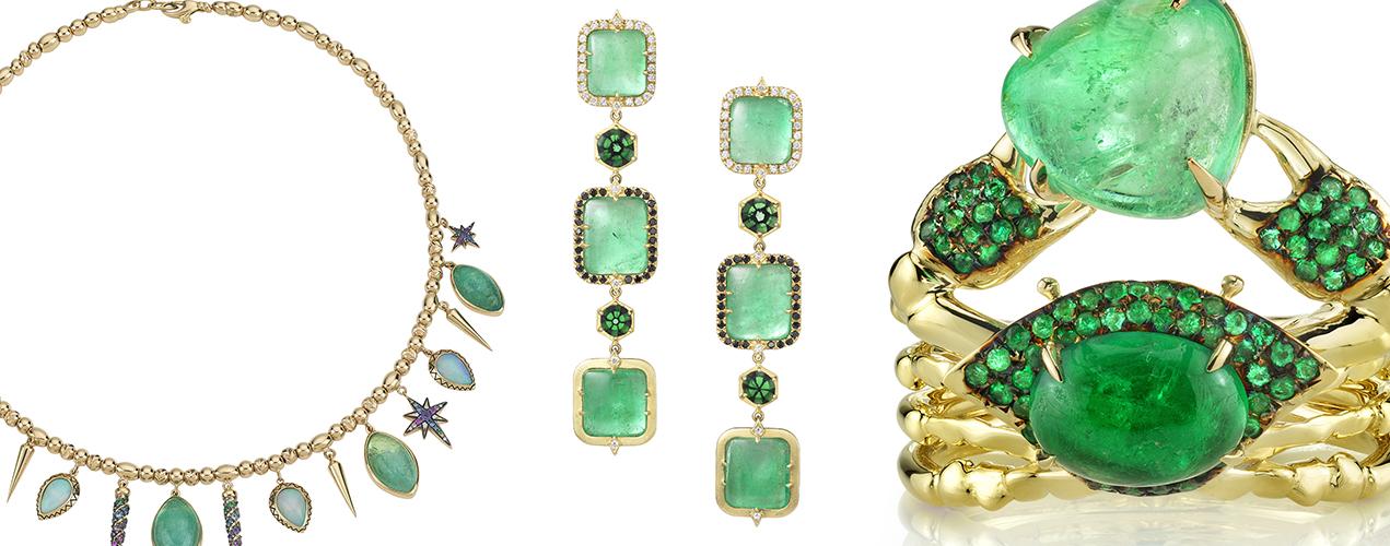 Jewels set with Muzo emeralds