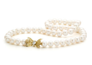 Amma Jewellery yellow gold filligre, freshwater pearl and marquise-cut diamond necklace