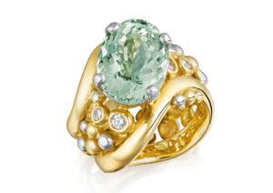 Charlotte Cornelius yellow gold, platinum, diamond and aquamarine ring