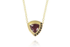 Ellie Air 9ct yellow gold, black diamond and trillion-cut rhodolite garnet January necklace