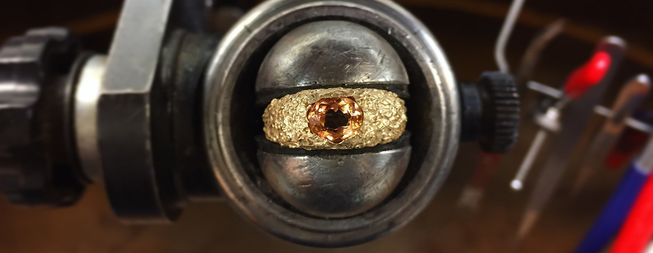 Susannah King yellow gold and honey topaz Orgaya ring