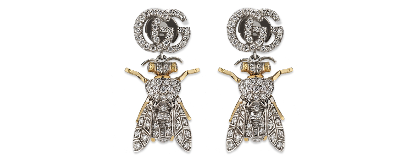 Gucci yellow and white 18ct gold and diamond Le Marché des Mervilles bee earrings
