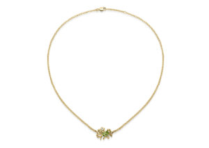 Lylie's, yellow gold, diamond and peridot Tofu Coral necklace