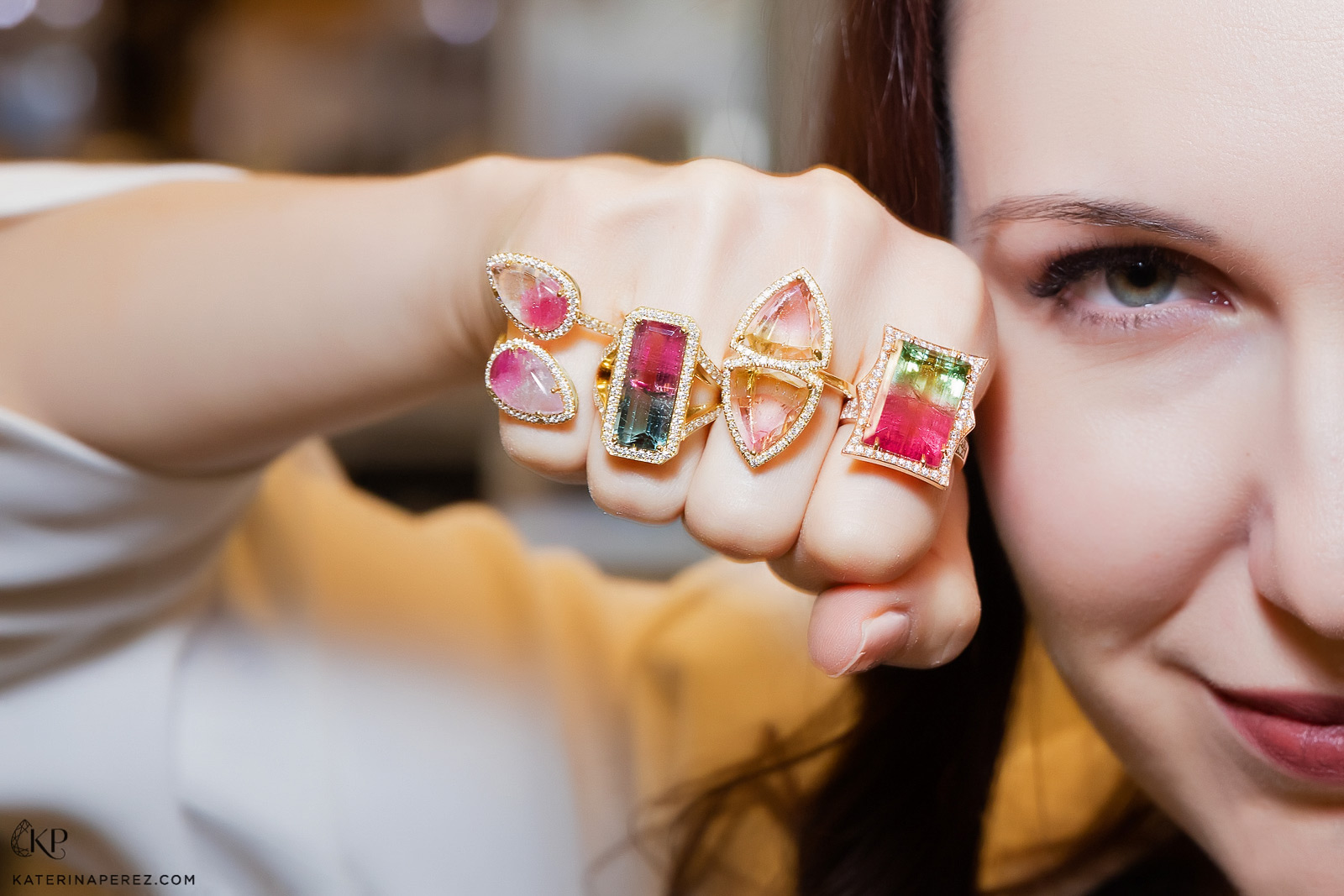 Katerina Perez shows off some toumaline rings