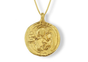 Lylie's yellow gold Madonna and Child pendant