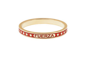 Foundrae 18ct yellow gold and red enamel Strength ring