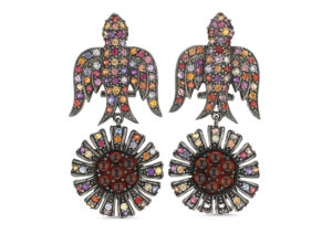 Roseheart Jewels silver and mixed gemstone bird earrings