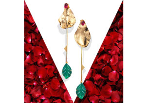 Akansha Sethi yellow gold vermeil, carved green jade and ruby Rose Petal earrings