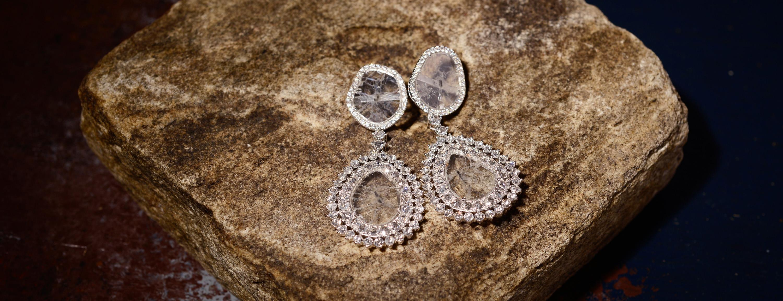 Manpriya B diamond silce earrings