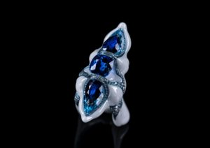 A New Generation sapphire, aquamarine and diamond ring by Wallace Chan