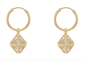 Atelier Swarovski by Stephen Webster lab-grown diamond, rose quartz and yellow gold Double Diamond earrings