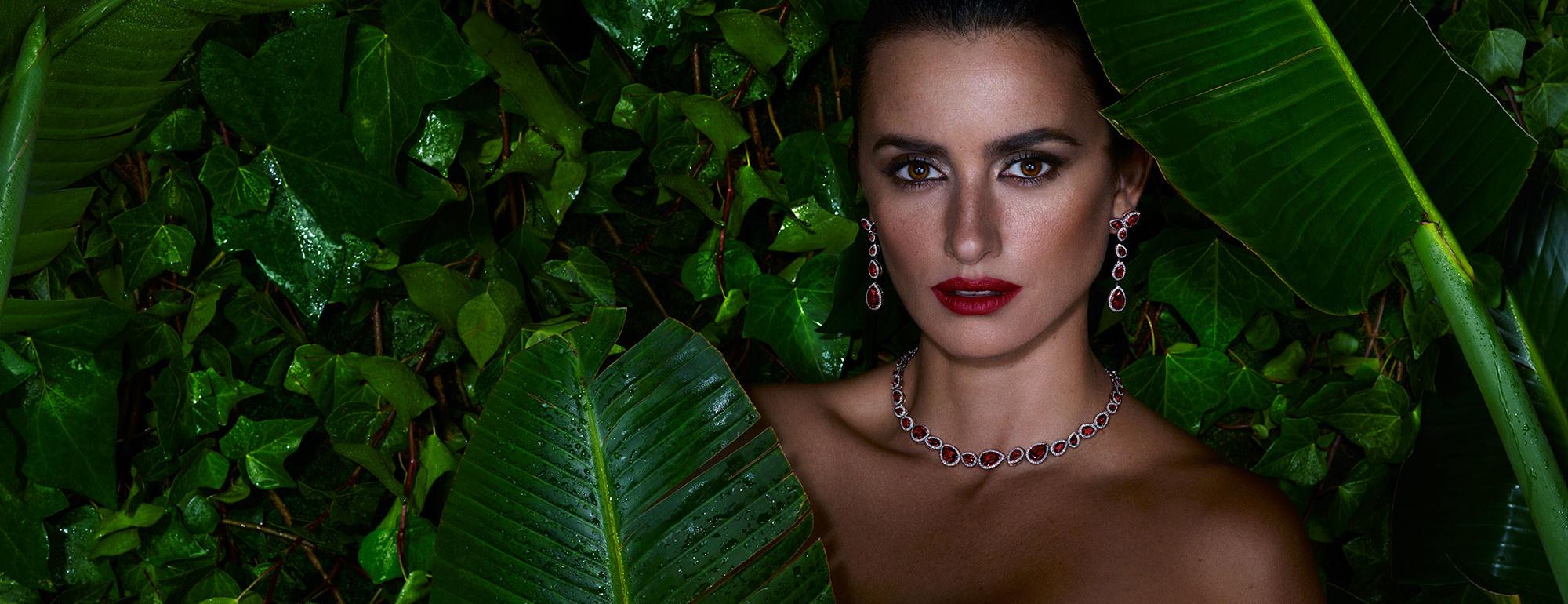 Penelope Cruz wearing her lab-grown diamond and lab-grown ruby Atelier Swarovski jewels