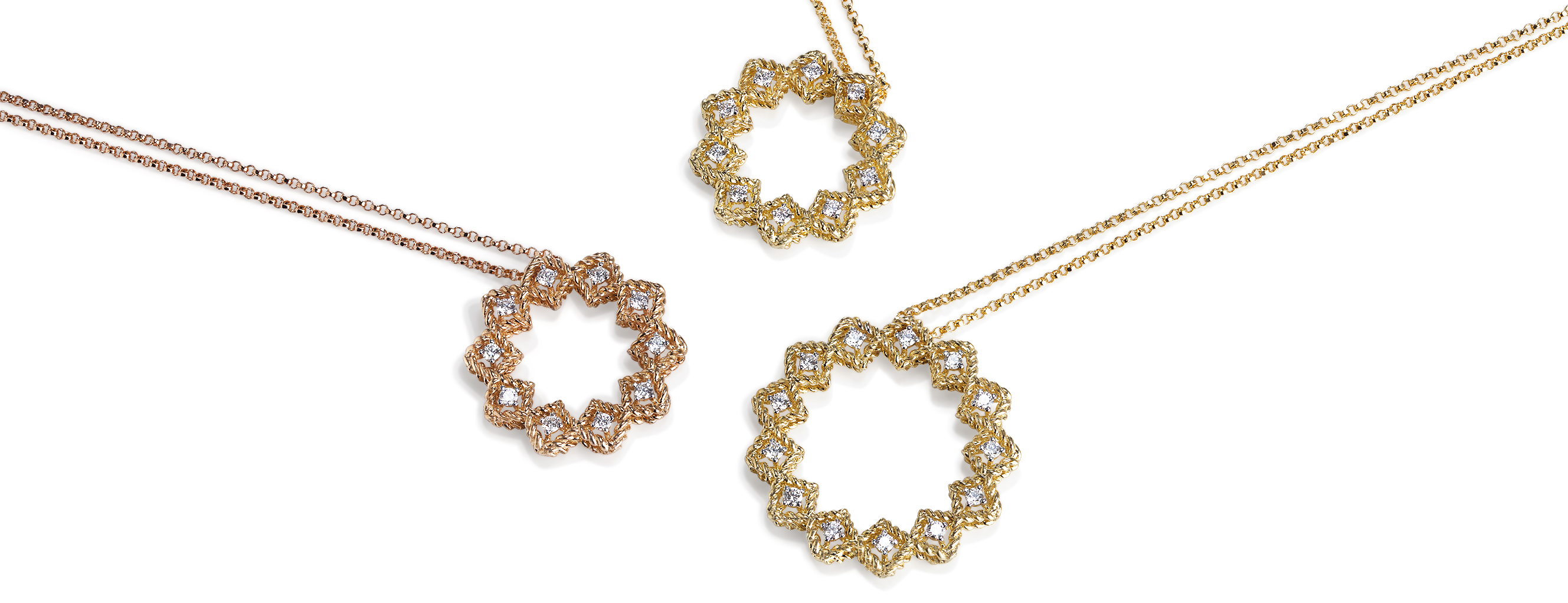 Roberto Coin woven rose and yellow gold and diamond Roman Barocco necklaces