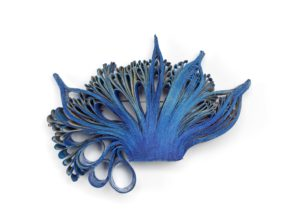 Blue Seanemone II brooch in paper on silver frame, made by Flóra Vági in 2016 and given to the3 V&A by Katalin Spengler