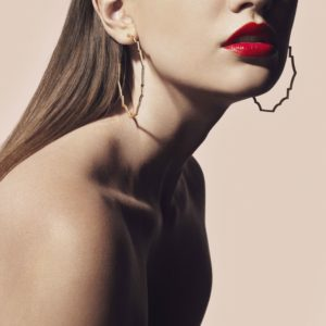 Ama Dhami gold, enamel and diamond hoop earrings