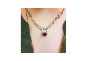 Susannah King Jewels silver, diamond and ruby The Gem Lock necklace
